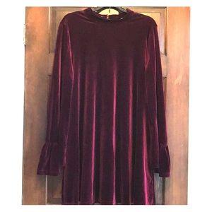 Velvet swing dress with flutter sleeves